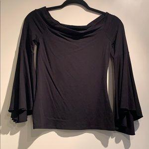 Black express off the shoulder bell sleeve top